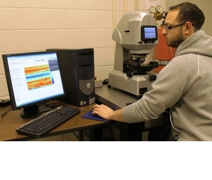 NSERC CANRIMT PhD student using an Optical Surface Profilometer